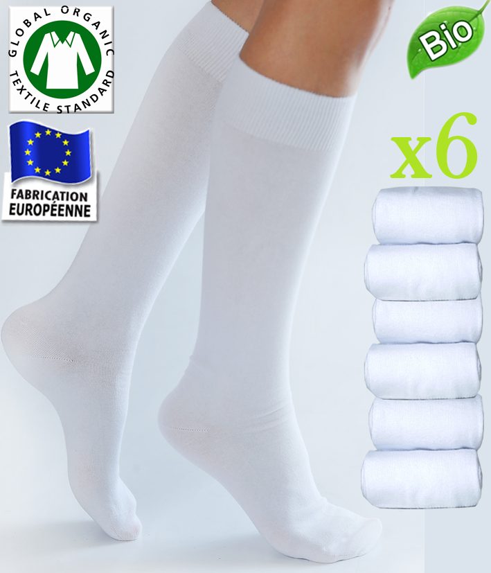 lot de 6 paires de chaussettes mi bas unie en coton blanc. Black Bedroom Furniture Sets. Home Design Ideas