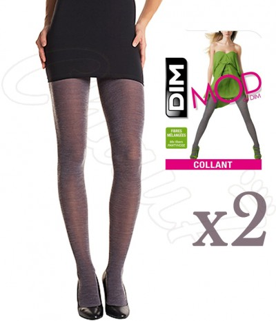collants dim laine fin melangee