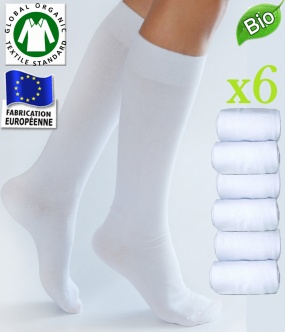 mi bas blanc coton bio femme fabrication europe